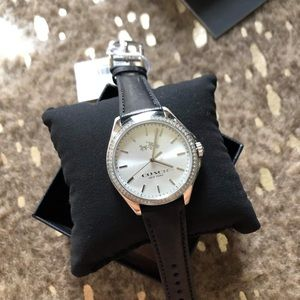 New Coach Tristen Silver with Black leather Strap